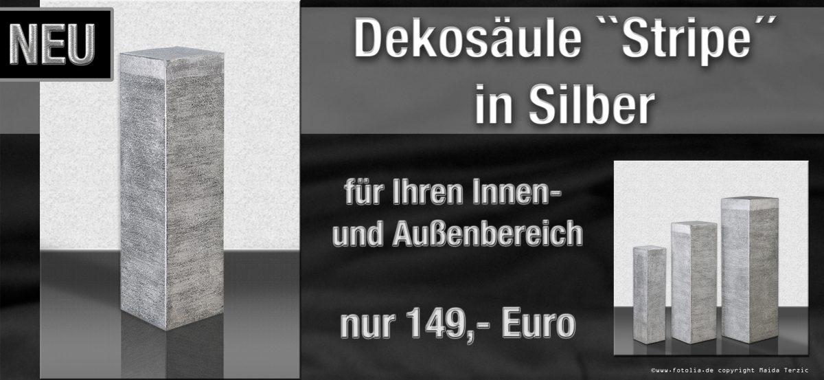 """Säule """"Stripes"""" in Silber"""